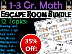 1st, 2nd, 3rd Grade Math Escape Room Bundle