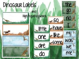 Dinosaur Labels and High Frequency Words. EYFS or KS1 dinosaur topic, reading and writing.