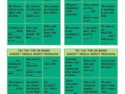 Subject Versus Object Pronouns Tic-Tac-Toe or Bingo