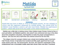 Matilda by Roald Dahl Comprehension KS2