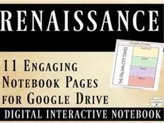 Renaissance Interactive Notebook Digital Graphic Organizers for Google Drive