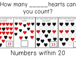 Counting numbers within 20 - Heart themed - Printable!
