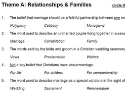 Relationships & Families (Theme A: AQA GCSE Religious Studies) - multiple choice test