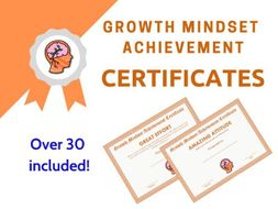 Growth Mindset Achievement Certificates Orange Edition