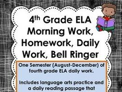 4th Grade Reading Language Arts ELA Daily Morning Work, Homework-  Spiral Review 120+ pages