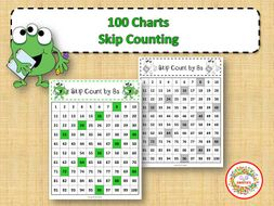 100 Number Charts with Skip Counting - Monsters