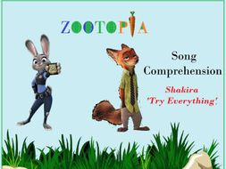 Shakira Song Try Everything Movie Zootopia -Worksheets with keys by ...
