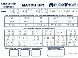 Adding Or Subtracting Matrices Worksheet By Jtodd  Teaching  Adding Or Subtracting Matrices Worksheet By Jtodd  Teaching Resources   Tes