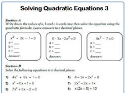 Quadratic Formula 9-1 GCSE Maths Worksheet and Answers by ...