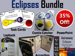 Lunar and Solar Eclipses Task Cards, PowerPoint and Activities Bundle