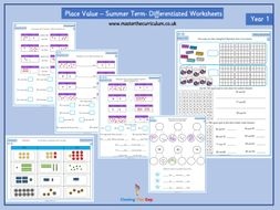 year 1 place value differentiated worksheets numbers to 100 by closingthegapltd teaching. Black Bedroom Furniture Sets. Home Design Ideas