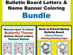 Spring Theme Bulletin Board Letters & Name Banner Coloring Bundle