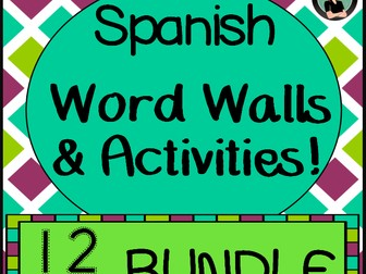 Word Walls & Activities, Spanish version {BUNDLE!} All 12 months! Whole Year