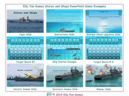 Stores and Shops English Battleship PowerPoint Game