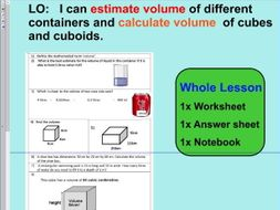 Whole Lesson -estimate volume - calculate volume - applying problems - KS2  Year 5 6