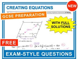 GCSE 9-1 Exam Question Practice (Creating and Solving Equations)