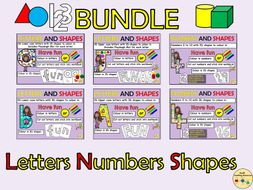 Alphabet Letters  and Numbers 2D and 3D Shapes Playdough/Play dough Mats Worksheets Cut and Paste Activities BUNDLE