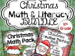 Christmas Math & Literacy BUNDLE for 5th Grade