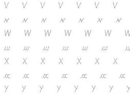 Cursive Handwriting letters v - z dotted letters