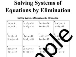 Solving Systems of Equations by Elimination – Worksheet