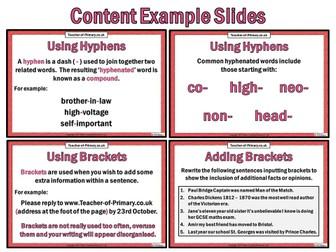 Hyphens and Brackets (PowerPoint and worksheets)