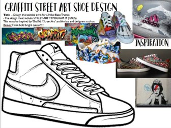 Graffiti / Street art Shoe design worksheet