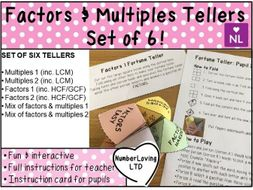 Factors and Multiples Fortune Tellers