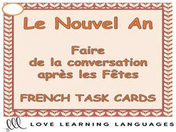 GCSE FRENCH: French Conversation Questions Task Cards - Le Nouvel An - Après les Fêtes