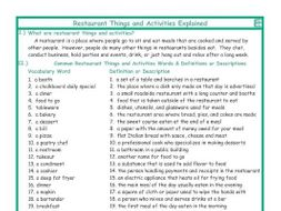 Restaurant Things and Activities Explanation-Definitions