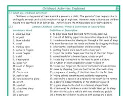Childhood Activities Explanation-Definitions