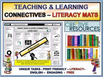 Connectives Literacy Mats - English