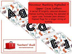 Dinosaur Bunting Alphabet - Upper Case Letters