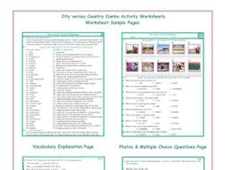 City versus Country Combo Activity Worksheets