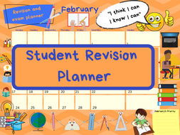 Exam study revision timetable/calendar (ideal for GCSE/A'Level)