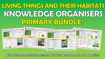 Living Things and their Habitats Knowledge Organisers Primary Bundle!