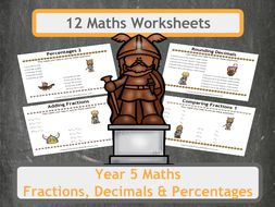 Viking Themed Fractions, Decimals and Percentages Worksheets for Year 5 Classes