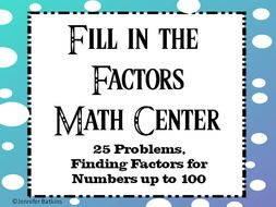Fill in the Factors