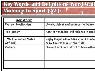 AQA A Level PE [A2 - 7582] - Violence In Sport Key Word List