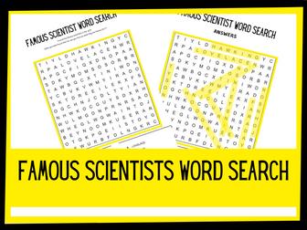 Famous scientists wordsearch