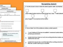 Grammar Year 4 Punctuating Direct Speech Spring Block 2 Homework Extension