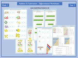 Year 1- Differentiated Addition and Subtraction Worksheets-Block 2 - Week 1- White Rose Style