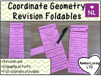 Coordinate Geometry Revision Foldable