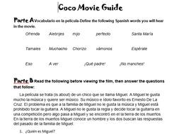 Disney Pixar Coco Movie Guide For Spanish Class No Prep Sub Plan