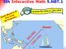 Grade 5 Math Interactive Test Prep – 10 Times the Value or 1/10 the Value 5.NBT.1
