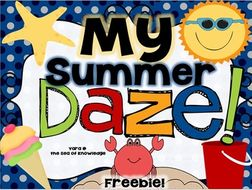 My Summer Daze! Freebie Reading and Writing for Summer Holidays for Grade 1