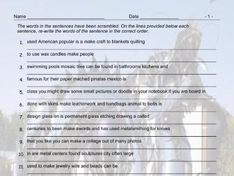Art Forms Scrambled Sentences Worksheet And Answer Key