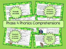 Phase 4 Phonics Comprehensions - Growing Pack