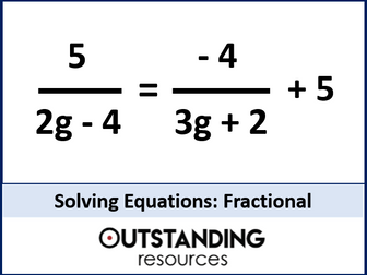 Solving Equations 2 - Solving Linear Equations including Fractional Equations (+ 2 worksheets)