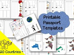 printable passport template and country research project 20 countries