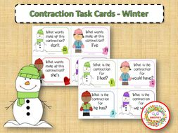 Contraction Task Cards - Winter